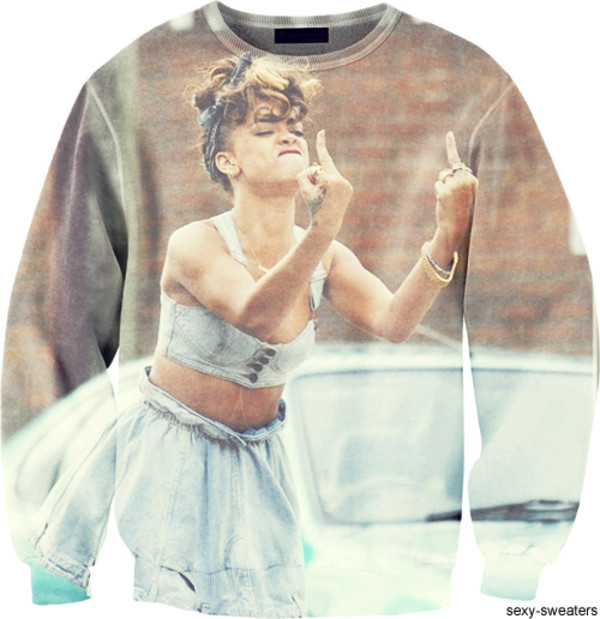 sweater shooting a bird rihanna cool print sweater sweatshirt