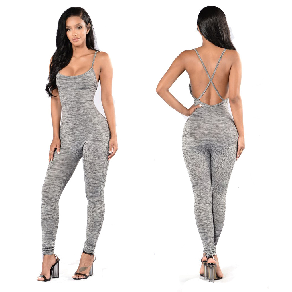 Aliexpress.com : Buy Spaghetti Strap Backless Jumpsuit, Sleeveless Women's Hot Back Cross Long Bodycon Jumpsuits from Reliable jumpsuit pictures suppliers on SureFavor Store
