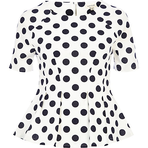 White polka dot structured peplum top