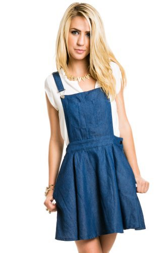 Denim overall dress in blue