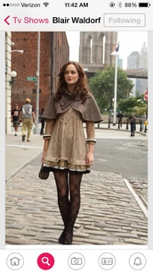 coat,blair waldorf,cape,gossip girl,dress,gossip girl blair dress,black dress,cardigan,jacket,tights