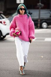 sweater,neon pink sweater,white flared pants,blue heels,blogger,sunglasses