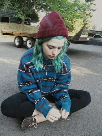 sweater clothes tumblr clothes sweatshirt hair accessory pullover pattern patterned sweater aztec sweater moccasins hipster alternative long sleeves blouse jumper leggings shoes beanie hat shirt stripes hippie grunge striped sweater blue sweater