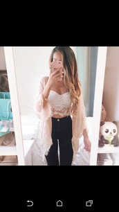 shirt,lace top,crop tops,high waisted pants,top,cardigan,boho,lace dress,jeans,phone cover,jacket,lace up,pretty,girly,tank top,summer top,summer dress,blouse,jeans pants bottom high,sweater,thepanda,lace,white,kimono,pink cardigan,white crop tops,pink