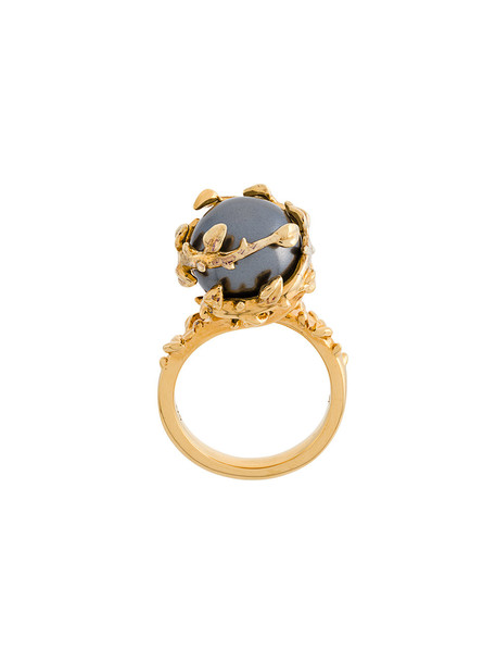 Kasun London Fairytale gold pearl ring - Yellow & Orange