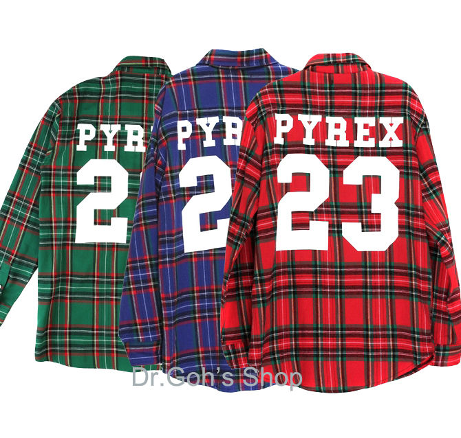 New Flannel Plaid Pyrex 23 Check Long Sleeved Shirts M SZ 3Color Kanye Ver2