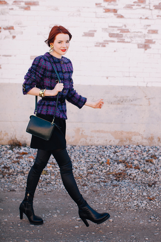 blogger bag jacket jewels sea of shoes tartan earrings