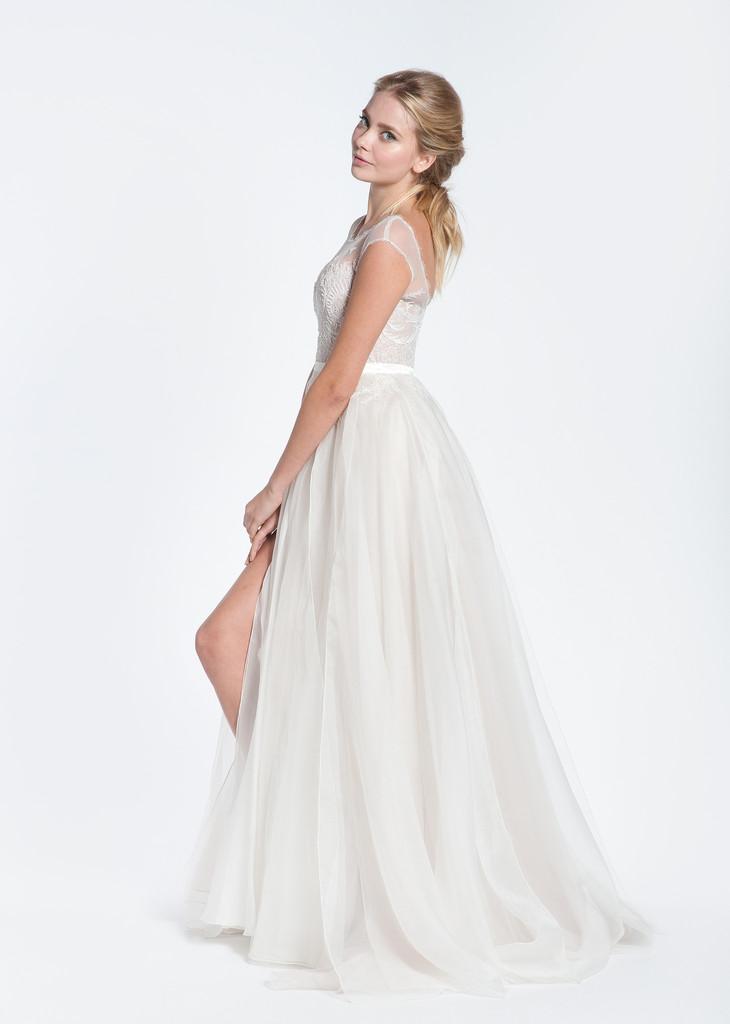 Paolo Sebastian Swan Lake Wedding Dress with Nude Bustier ...