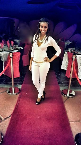 jewels white jumpsuit
