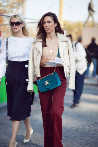 bag tumblr teal blue bag gucci gucci bag velvet bag velvet jacket fall outfits fall colors white jacket pants wide-leg pants burgundy burgundy pants streetstyle