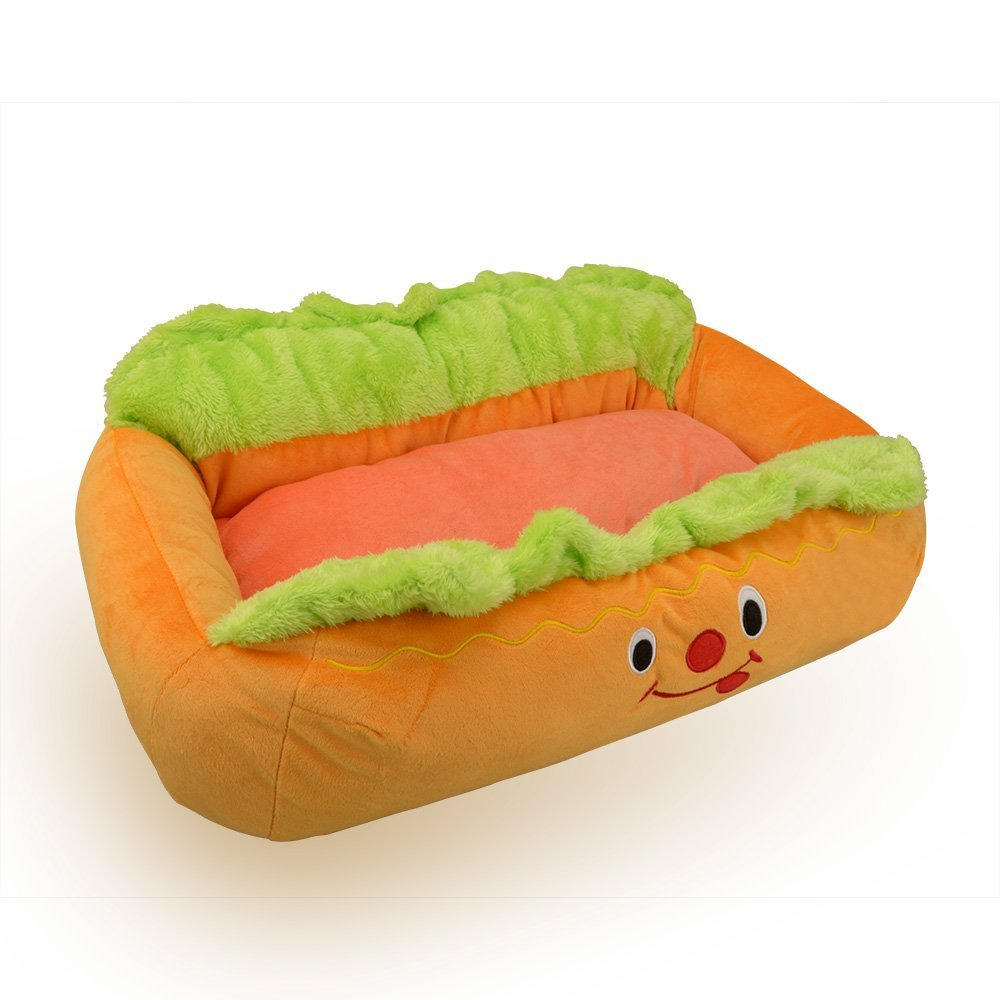 "Amazon.com : pet kingdom hot dog design dog bed with removable and washable pet mat dog house, 24"" x 16"" x 8"" : pet supplies"