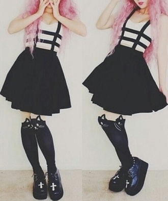 punk goth hipster pastel goth tights shoes