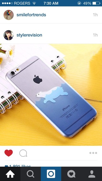 phone cover iphone apple cute water blue transparent bear technology