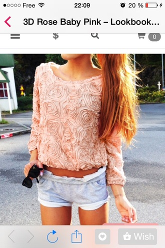 shorts girly roses blouse