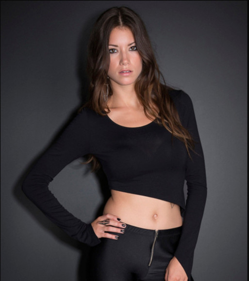 asymmetrical black shirt crop tops long sleeves