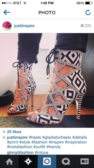 shoes high heels cute peep toe peep toe heels tribal pattern open toes lace up black heels aztec aztec print shoes lace up heels white heels black/white heels gold accents open toed heels