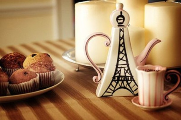 T Shirt Teapot Food Home Decor Nice Cute French Eiffel Tower Mug Breakfast Jewels