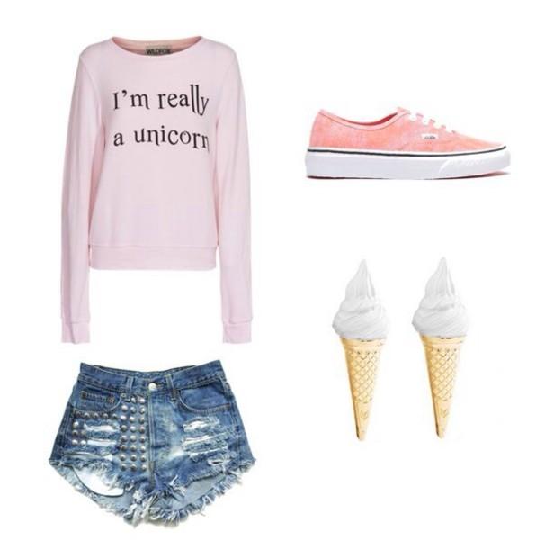sweater unicorn shirt shorts shoes jewels