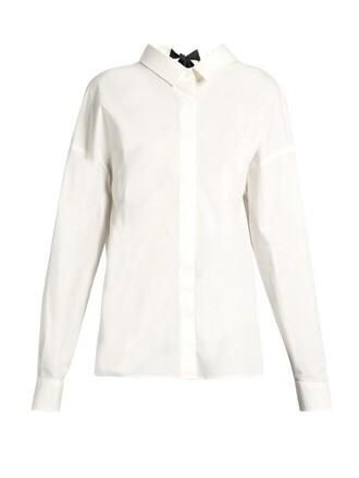 blouse back cut-out cotton white black top