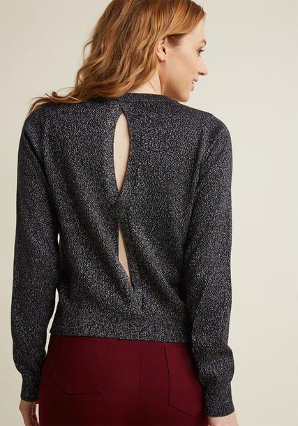 Modcloth sweater back open metallic open back black pink