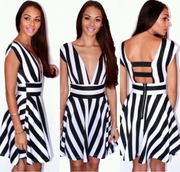 stripes striped black and white dress