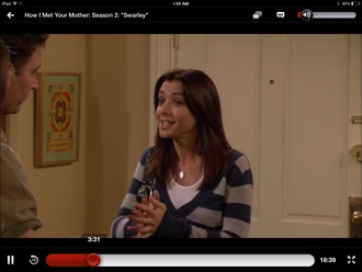 sweater blue and gray striped sweater alyson hannigan how i met your mother