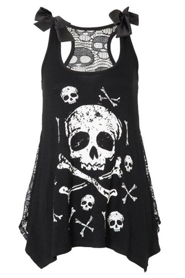 tank top black top black skull skull goth goth