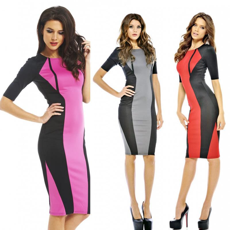 Free shipping 2014 New Fashion Women Half Sleeve Bodycon Midi Dress Office Lady Career Dress Elegant Brief Pencil Dress 9073 | Amazing Shoes UK