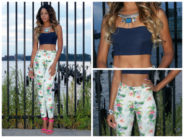jeans floral navy pink green necklace heeled sandals crop top water fabulous beautiful fashion fashionista instagram tumblr pants flora flowers shoes jewels tank top