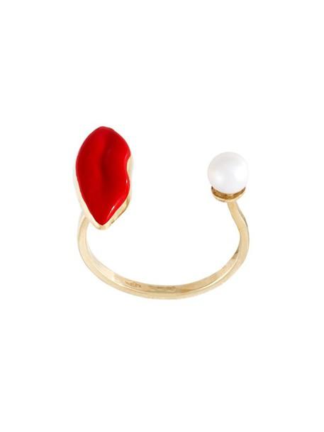 Delfina Delettrez women pearl lips ring gold white jewels