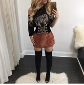 top,black top,summer top,black crop top,cute top,crop tops,off the shoulder,off the shoulder top,long sleeves,long sleeve crop top,outfit,outfit idea,summer outfits,cute outfits,date outfit,spring outfits,party outfits,trendy,clothes,fashion,style,stylish,clubwear,skirt,mini skirt,high waisted skirt,boots,black boots,suede boots,thigh high boots,winter boots,high heels boots,over the knee boots,heel boots,little black boots,pumps,high heel pumps,heels,high heels,black heels,cute high heels,black high heels,shoes,black shoes,sexy shoes,party shoes,cute shoes,cute skirt,summer shoes