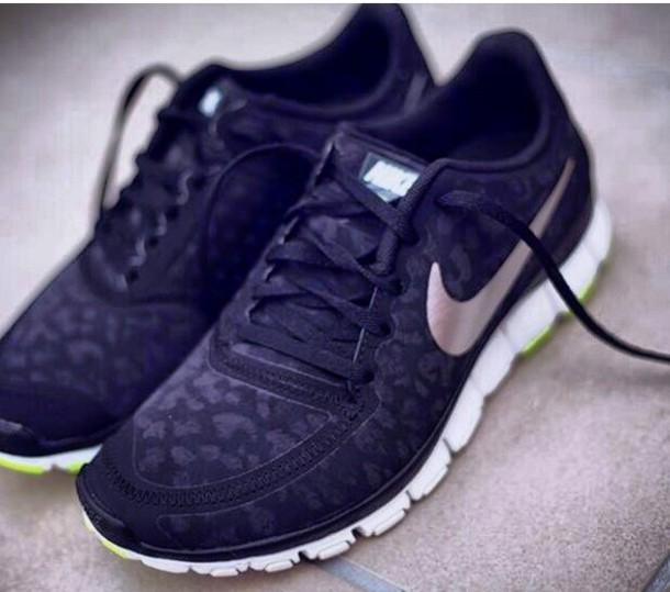 shoes, black, leopard print, nike free run - wheretoget