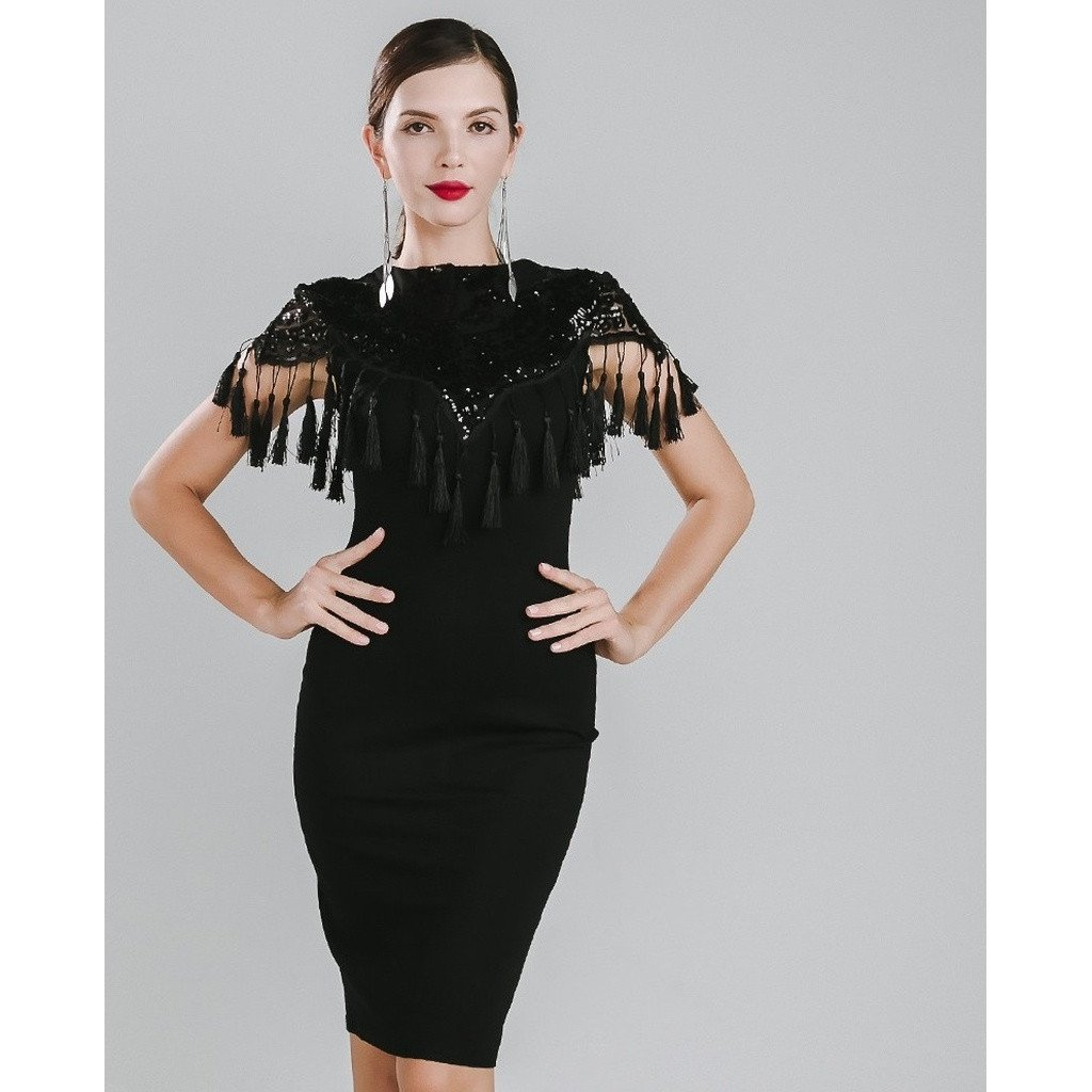 7b0a31ab5b5 Black Fringe Tassel Cocktail Dress