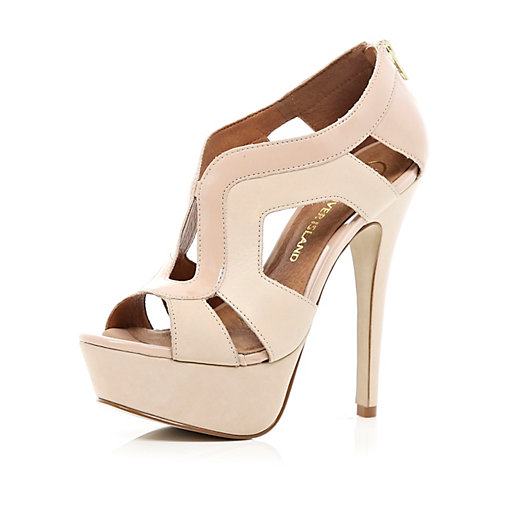 pink cut out platform sandals - heels - shoes / boots - women