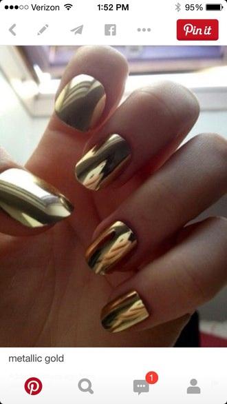 nail polish gold metallic hipster grunge cool nails