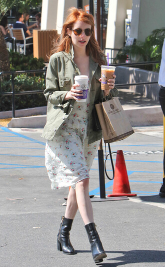 jacket dress spring outfits emma roberts boots military style