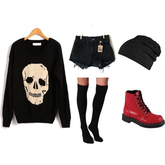 top skull sweater black sweater shoes