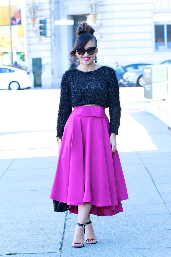 Low Bow Skirt in Fuchsia - KTRcollection