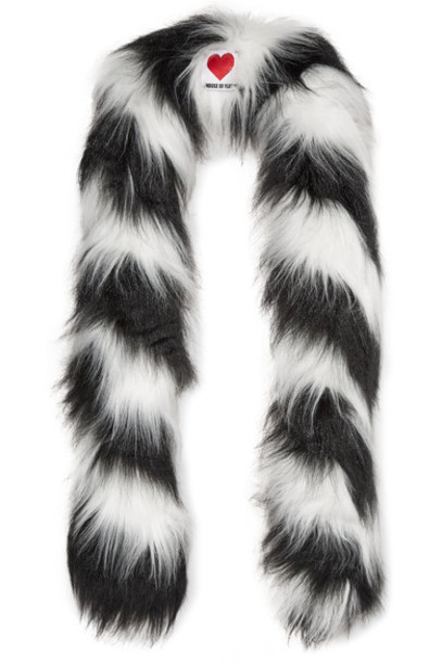 House of Fluff fur faux fur scarf fur scarf black