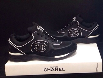 shoes chanel trainers black black sneakers