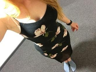 dress black dress black floral floral dress midi dress