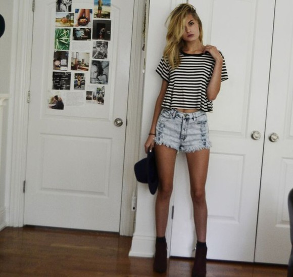 grunge shorts high waisted High waisted shorts striped shirt stripes