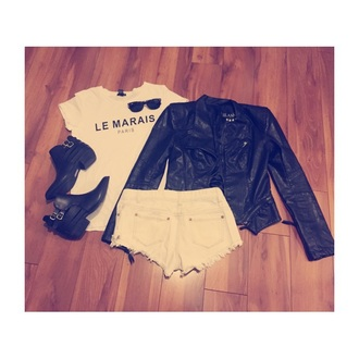 boots style shoes black leather jacket t-shirt white rayban hot pants high waisted shorts