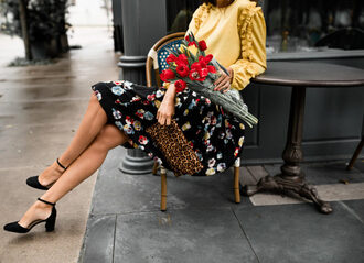 themilleraffect blogger blouse skirt top shoes bag jewels spring outfits yellow sweater midi skirt pumps