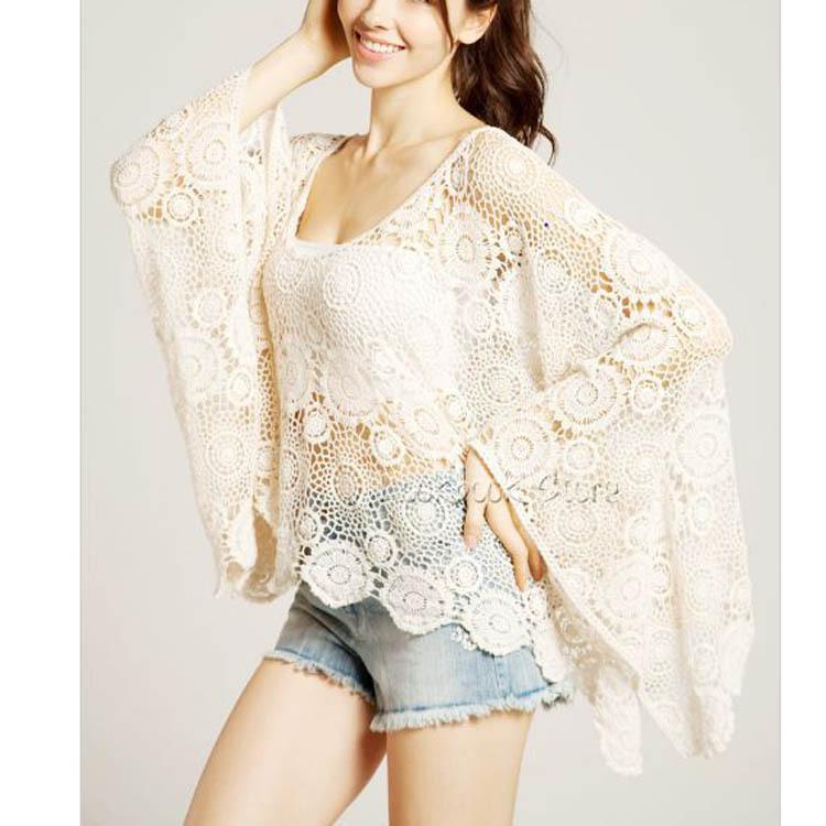 Fashion lace hollow out flower bat sleeve blouse