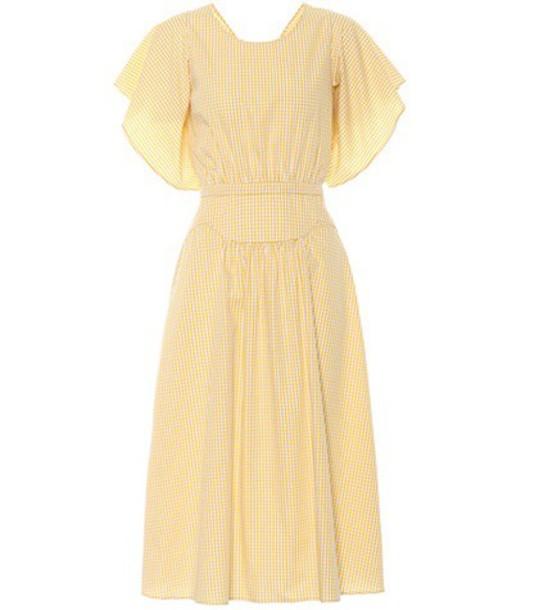 dress midi dress midi cotton gingham yellow