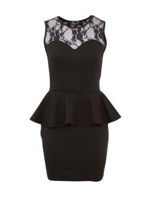 Te amo black lace panel peplum dress
