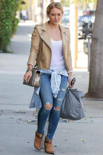 jeans jacket boots hilary duff shoes ripped jeans leather jacket ankle boots shirt pants