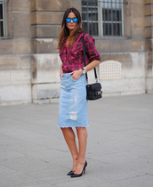 skirt,frayed denim skirt,frayed denim,midi skirt,denim skirt,blue skirt,ripped skirt,pencil skirt,shirt,tartan shirt,tartan,plaid shirt,sunglasses,mirrored sunglasses,bag,proenza schouler,proenza schouler bag,black bag,pumps,high heel pumps,black pumps,spring outfits