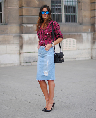 skirt frayed denim skirt frayed denim midi skirt denim skirt blue skirt ripped skirt pencil skirt shirt tartan shirt tartan plaid shirt sunglasses mirrored sunglasses bag proenza schouler proenza schouler bag black bag pumps high heel pumps black pumps spring outfits